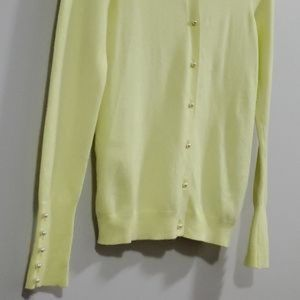 Zara Knit Sweater Citrus Faux Pearl Buttons
